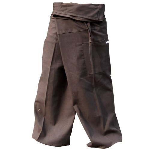 Brown THAI COTTON Fisherman Pants...Freesize Top quality authentic 100% Cotton Drill Gangaeng Chaolay Thai Fisherman pants for men and women! Super-comfortable and versatile- wear them for any occasion!