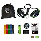 My ONYX All in One Suspension & Resistance Training Set Includes: Bodyweight Strength Suspension Straps Kit | 5 Exercise Loop Bands | Wall Ceiling Mount Anchor | Workout Guide for Home & Gym