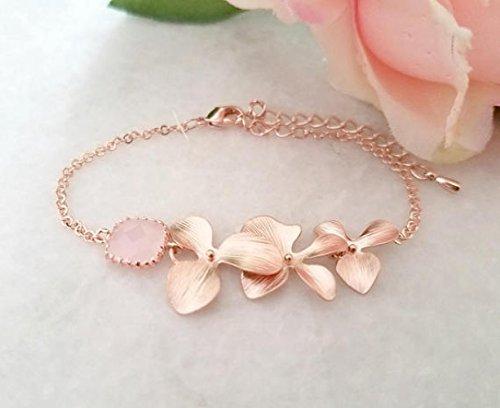 Blush Pink ROSE GOLD Bracelet, Flower Bracelet, Clear, Champagne, Peach, Sapphire Navy, Orchid Bracelet, Wedding Bridesmaids Gift