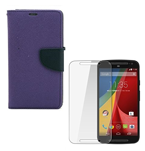 YGS Premium Diary Wallet Case Cover for Motorola Moto X Play Purple with Tempered Glass