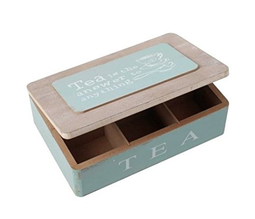 Duck Egg Blue Wooden Tea Bag Box 6 Storage Compartments Jewellery Box Chest Caddy