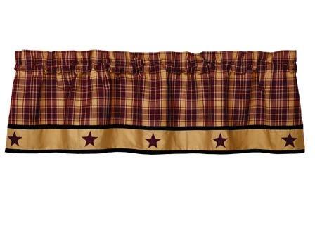 Heritage Star Valance - Olivia's Heartland Heritage Star Wine Red & Tan Plaid Striped Window Valance