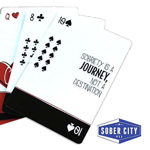 2 Pack Sober Cards – Decks of Playing Cards with Inspirational and Sobriety Quotes on The face of Each Card. Alcoholics Anonymous Gifts and Sobriety Gifts. 48 Different AA Slogans in Each Deck.