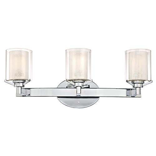 Clear Outer Shade - Westinghouse Lighting 6331300 Glenford Three-Light Indoor Wall Fixture, Chrome Finish with Ice Inner and Clear Glass Outer Shades