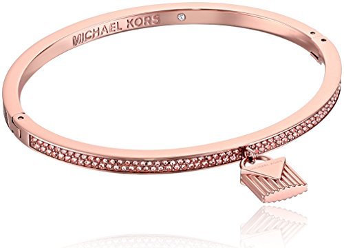 "Michael Kors ""Fashion Logo Love Rose Gold-Tone Hinged Padlock Charm Bracelet"