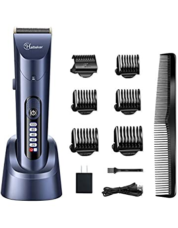 654707ade HATTEKER Hair Clippers for Men Cordless Hair Trimmer Beard Trimmer Hair  Cutting Kit Waterproof Rechargeable LED