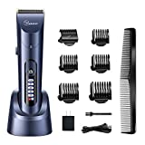HATTEKER Hair Clippers for Men Cordless Hair Trimmer Beard Trimmer Hair Cutting Kit Waterproof Rechargeable LED Display With Charging Dock