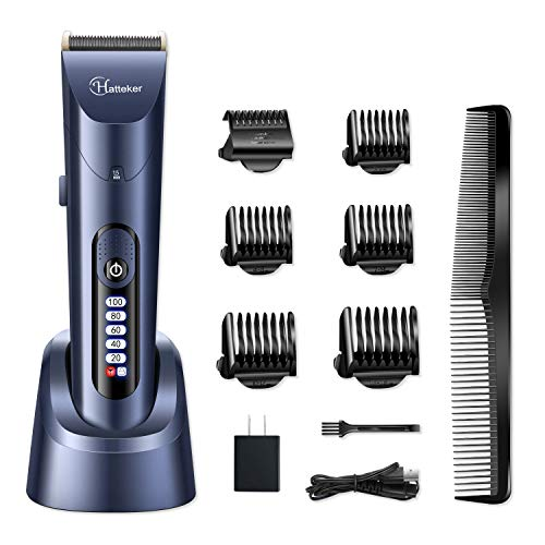 HATTEKER Hair Clippers for Men Cordless Hair Trimmer Beard Trimmer Hair Cutting Kit Waterproof Rechargeable LED Display With Charging Dock ()