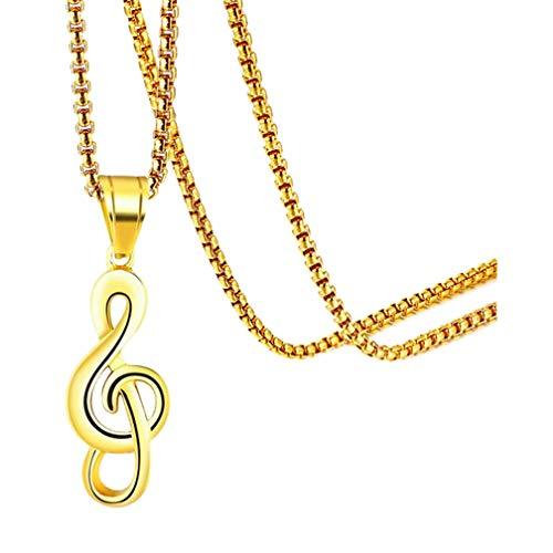 Fusamk Fashion Music Titanium Steel Note Symbol Charm Pendant Necklace(Gold)
