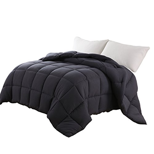 EDILLY Luxury Down Alternative Quilted California King Comforter-Stand Alone Comforter for California King Size Bed,Year Round Duvet Insert with 4 Corner Tabs,96''x 104'',Dark Grey