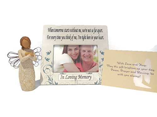 Willow Tree Remembrance Angel Figurine Bundle With When Tomorrow Starts Without Me Ceramic Memorial Picture Frame. An Ideal Sympathy-Condolence Gifts For Loss Of Mother/Father/Loved One