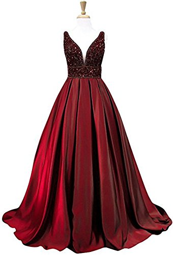 e V-Neck Beaded Prom Dress Long Ruffle A-Line Evening Gown (Double Bead Line)