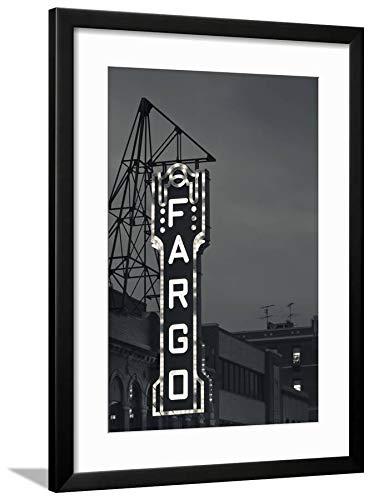 ArtEdge Theater Sign, Fargo, North Dakota, USA by Walter Bibikow, Black Wall Art Framed Print, 24x16, Soft White ()
