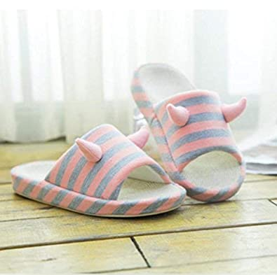GouuoHi Womens Slippers Womens Home Cotton Slippers Indoor Non-Slip Keep Warm Cotton Casual Leisure Cute Cartoon Stripe Printing Pattern Breathable Slippers