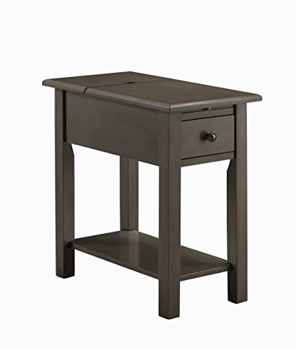 One Source Living Side Table with Charging Station in Brushed Gray