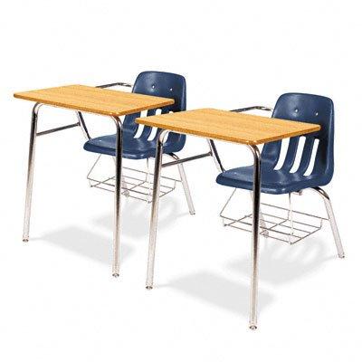 Virco 9700BR-BLU51-OAK084CLR 9000 Series Chair Combo, Tablet Arm Top, Navy Bucket, Medium Oak Top, Clear Edge, Chrome Frame, Wine