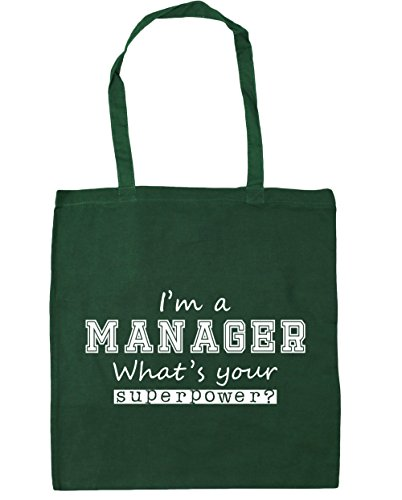 10 x38cm Your a I'm Tote Bottle litres What's 42cm HippoWarehouse Shopping Beach Manager Gym Green Bag Superpower wqROn4
