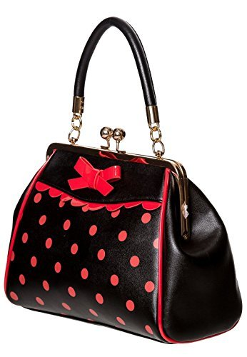 Red 50s Dot Polka Vintage Black Banned Handbag Rockabilly Apparel Crazy Retro xw6UnqgHv