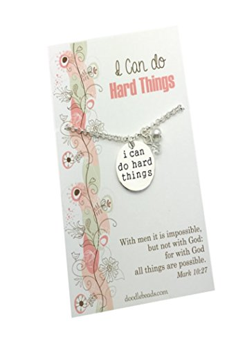 I Can do Hard Things Stamped Necklace silver charm pendant with pearl & crystal - Graduation Gift Idea Inspirational Hope Jewelry necklace, 16-17