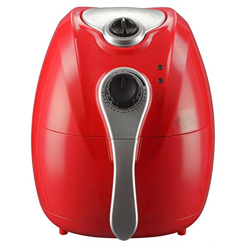 KUPPET Y300 4.42Quarts 1300W Air fryer For Smokeless Low-Fat Healthy Food, 80% Oil Less, Capacity with Timer and Temperature Control, Rapid Air Circulation System and Detachable Basket Handles, Red by KUPPET
