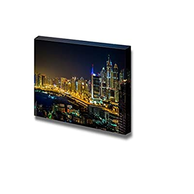 Canvas Prints Wall Art - Dubai Downtown Night Scene Beautiful Cityscape Photograph | Modern Wall Decor/Home Decoration Stretched Gallery Canvas Wrap Giclee Print & Ready to Hang - 24