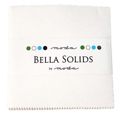 Quilt Fabric Charm Packs - Moda Bella Solids White Bleached 9900PP-98 Charm Pack, 42 5-inch Cotton Fabric Squares
