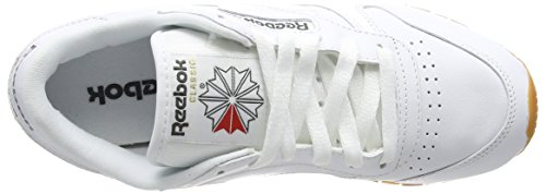 Reebok CL LTHR - Zapatillas de running, Niños Blanco (Int/White/Gum 000)