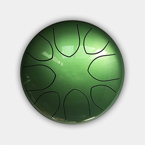10'' Steel Tongue Drum (Bag included)-C Major Natural Scale Green by Crystal Energy Bowls