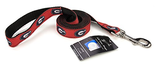 3/4 Inch Georgia Bulldogs Ribbon Dog Leash - 6 Foot - Georgia Bulldog Puppy Collar