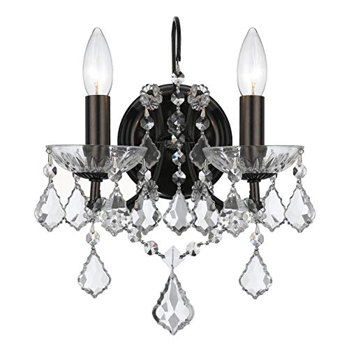 Crystorama 4452-VZ-CL-MWP Crystal Two Light Bathroom Lights from Filmore collection in Bronze/Darkfinish,
