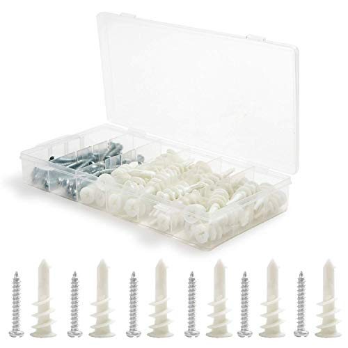 Houseables Drywall Anchors and Screws, 100 Pieces (50/50), 8 x 1-1/4