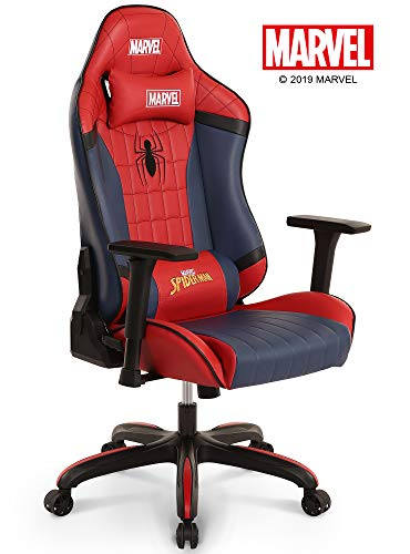 Neo Chair Licensed Marvel Spider Man Gaming Chair 400lb High End Ergonomic Neck Lumbar Support 4D Adjustable Armrest Recliner Computer Desk Office Executive Premium Leather Racing Chair, Red
