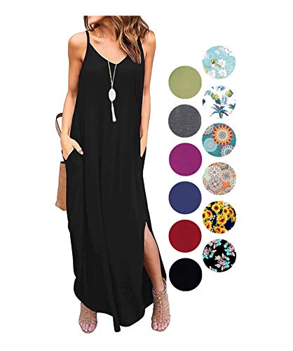 LIYOHON Women's Summer Casual Loose Dress Beach Cover Up Plain Print Long Cami Maxi Dresses with Pocket Black-S