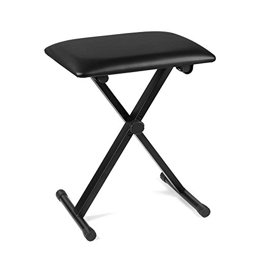 Needlepoint Stool (Flexzion Piano Bench - Keyboard Bench Height Adjustable Foldable X-Style Padded Stool Chair Seat Cushion With Anti-Slip Rubber Feet Perfect for Kids, Adult Instrumental Performance and Practice)