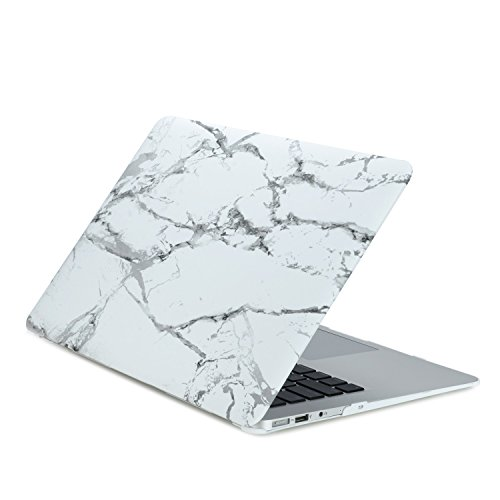 "TopCase Air 11-Inch White Marble Rubberized Hard Case for MacBook Air 11"" Model: A1370 and A1465"