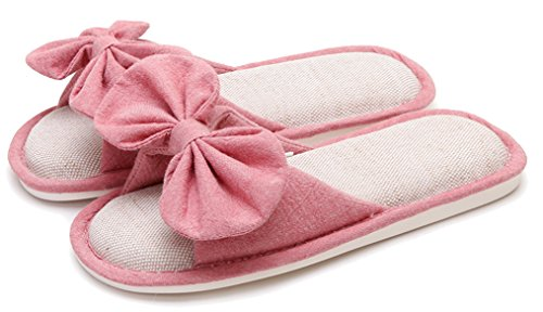 Blubi Women's Bows Open Toe Breathable Flax Cute Slippers...