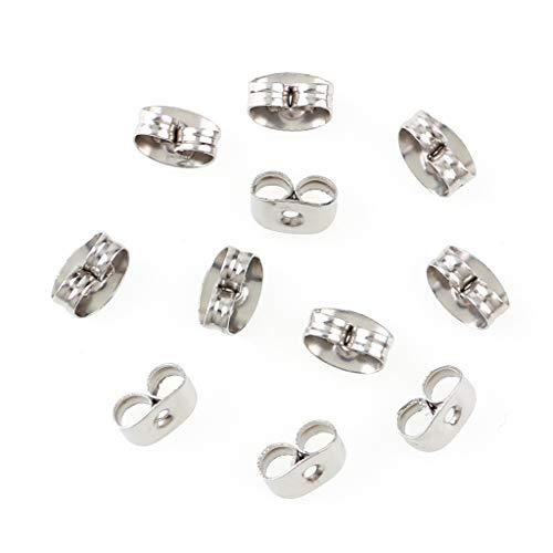 300 Pieces Stainless Steel Butterfly Earring Backs (Silver 5x3.5mm) (Backs For Earrings)