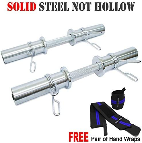 Heavy Duty Barbell 20 Inch Olympic Dumbbell Handle Pair Solid Steel Two Handles, One Pair