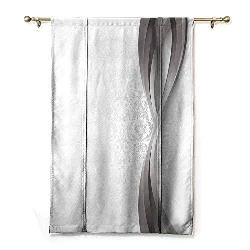 - Homrkey Customized Curtains Grey Wavy Vertical Curved Stripes with Flowers and Leaves Vintage Damask Inspired Durable W23 xL64 Gray Pale Grey White
