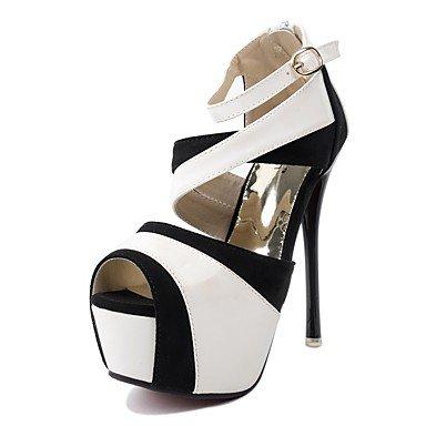 LvYuan Mujer-Tacón Stiletto-Confort Suelas con luz Zapatos del club-Sandalias-Vestido Informal Fiesta y Noche-Microfibra-Blanco Oro White