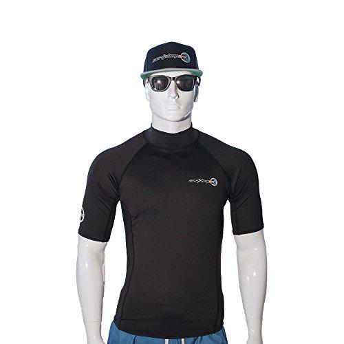 surfshop24 UV-Schutz Shirt Rashguard Spandex Kurzarm schwarz UPF 50+ Sonnenschutz