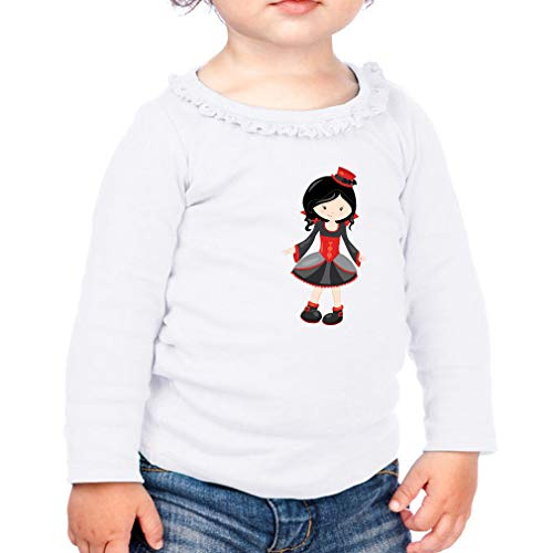 Vampire Girl Cotton Taped Neck Girl Toddler Long Sleeve Ruffle Shirt Top Sunflower - White, 24 -
