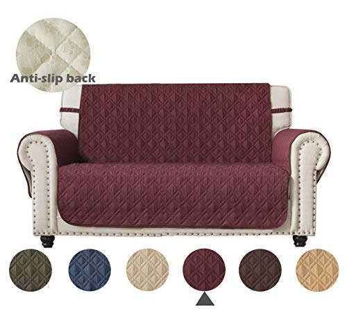 Ameritex Loveseat Cover Water-Resistant Quilted Furniture Protector with Back Nonslip Paws Slipcover for Dogs, Kids, Pets Loveseat Slipcover Christmas Decor Leather Sofa(Pattern1:Burgundy, Loveseat)