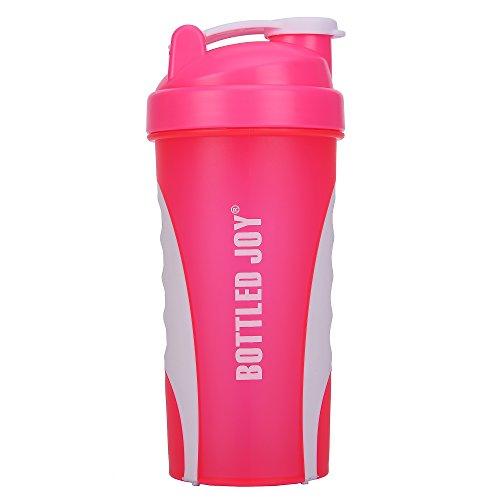 BOTTLED JOY Protein Shaker Bottle, Non-Toxic Wide Mouth 100% Leak Proof Shake Water Bottles 27oz 800ml (Pink)