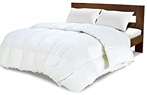 Equinox Comforter - (350 GSM) White Alternative Goose Down Duvet (Queen) - Hypoallergenic, Plush 350GSM Siliconized Fiberfill, Box Stitched, Protects Against Dust Mites and Allergens