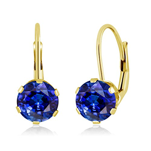 Gem Stone King 2.47 Ct Round Blue Kyanite 14K Yellow Gold Earrings