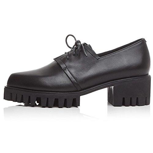 Zapatillas Minivog Treaded Stacked De Tacón Bajo Para Mujer Oxfords Negras