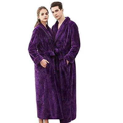 KKING Womens Mens Full Length Fleece Shawl Collar Robe Plus Size Super Soft Housecoat