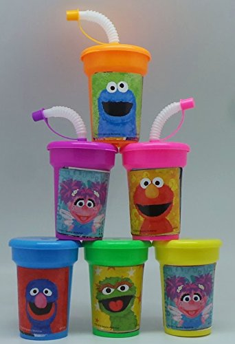 [Sesame Street Party Cups 6 pack Sipper Favor Cups] (Sesame Street Birthday Party Supplies)