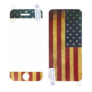 Skque® Vintage USA Flag Front & Back Sticker Screen Protector Full Body Cover Film for Apple® iPhone® 5(3 pack)